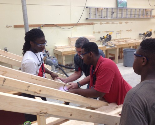 Garrett Academy Construction students