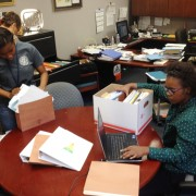 Summer Interns Ebony Washington from West Ashley HS and Richae Haynes from Baptist Hill MHS are assisting in the CCSD Office of Federal Programs.