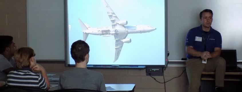 Boeing SC volunteer speaking to WAHS engineering class